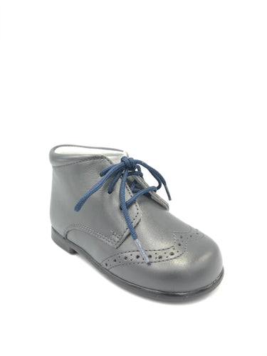 Geppettos Grey Leather Lace Up Bootie G001