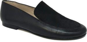 Hoo Black Leather Pony Hair Slip on 2283
