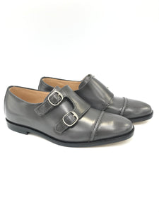 Hoo Grey Hi Shine Double Monk Strap Dress Shoe 2183