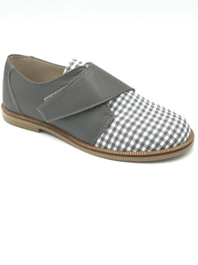 Hoo  Velcro Oxford Grey/White Checkered 2178