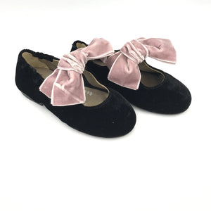 Papanatas Black Velvet Blush Bow Ballet 1549Z