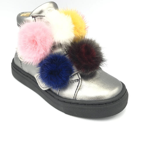 Papanatas Pewter Colorful Pom-Pom Bootie 8573Z