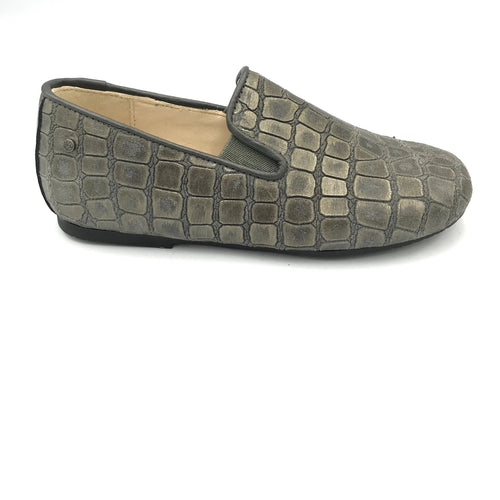 Manuela De Juan Grey Crocodile Loafer S2488