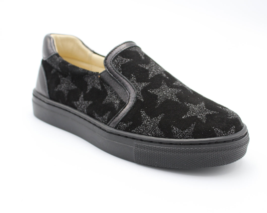 Andanines Black Star Suede Slip On Sneaker 192967
