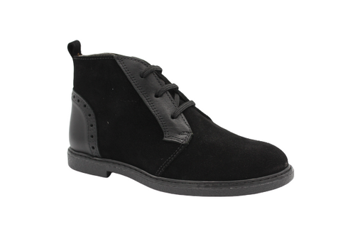 Blublonc Black Suede Lace Up Chukka Bootie 21518