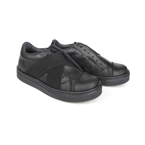 Blublonc Black Criss Cross Slip on Sneaker A5030