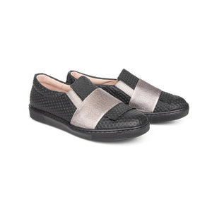 Brunellis Black Pewter Slip On Sneaker