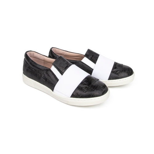 Brunellis Black Print White Elastic Slip On Sneaker