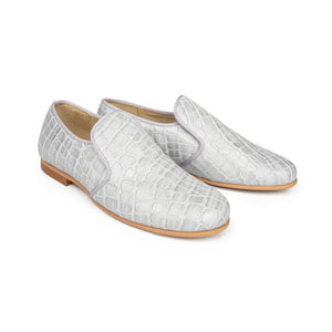 Brunellis Grey Crocodile Slip On Loafer S1318