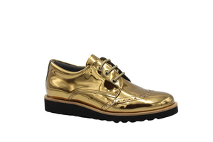 Blublonc Bronze Gold Mirror Lace Up Oxford 23212