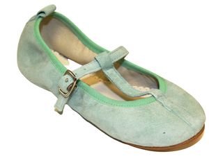 Belle Chiara Isadora Mint Green Suede Ballet Dress Shoe