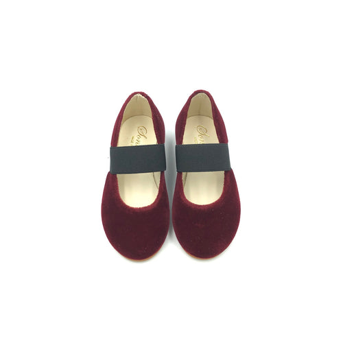 Sonatina Brooklyn Burgundy Velvet Elastic Mary Jane