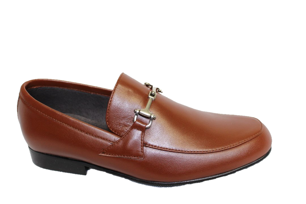 Atlanta Mocassin Brown Leather Chain Slip On Loafer B526