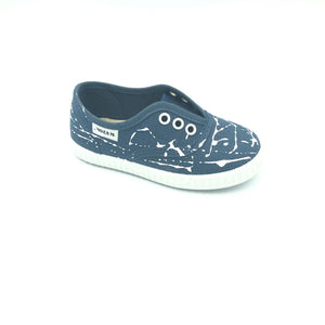 Shoe B 76 Blue White Splatter Paint Slip On Sneaker 8002