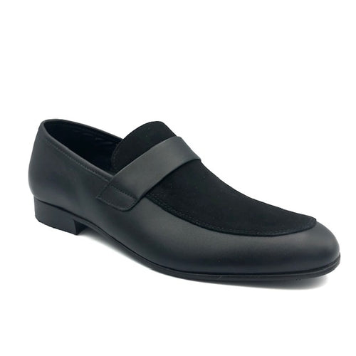 Andanines Black Leather Suede Slip On Loafer 192772
