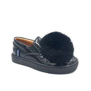 Atlanta Black Patent Pom-Pom Slip On Sneaker V6G8