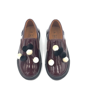Atlanta Mocassin Wine Patent Mini Pom-Pom Slip On Sneaker V6D8