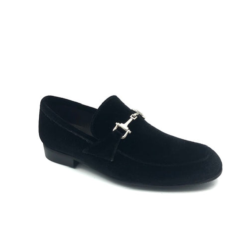 Atlanta Mocassin Black Velvet Chain Loafer X225
