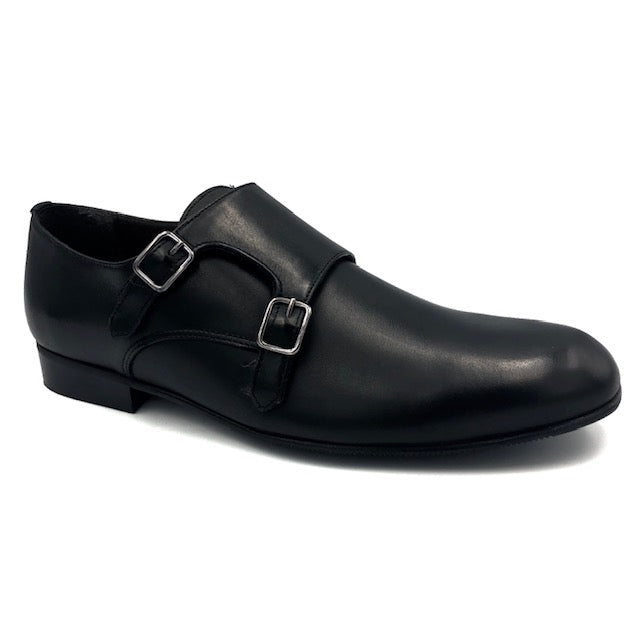Atlanta Mocassin Black Double Monk Strap Dress Shoe X444