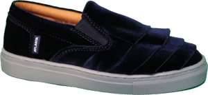 Atlanta Mocassin Navy Velvet Ruffle Sneaker With Grey Sole