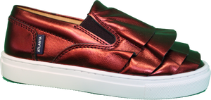 Atlanta Mocassin Metallic Rust Ruffle Slip On Sneaker