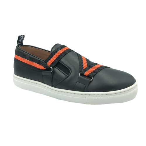 Atlanta Mocassin Black Orange Strapworks Slip On Sneaker N198