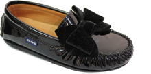 Atlanta Mocassin Black Bow Leather Loafer wv04
