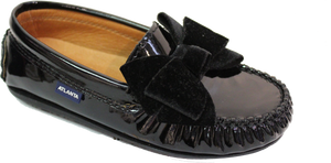 Atlanta Mocassin Black Bow Leather Loafer