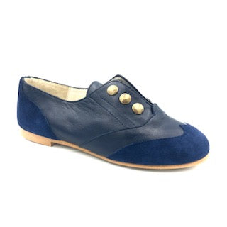 Belle Chiara Navy Leather Suede Oxford