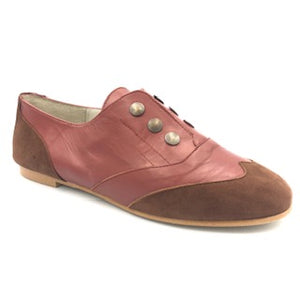 Belle Chiara Rust Leather Suede Oxford