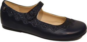 Manuela De Juan  Navy Leather Mary Jane S2496