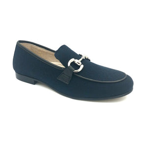 Hoo Navy Wool Chain Loafer 3076