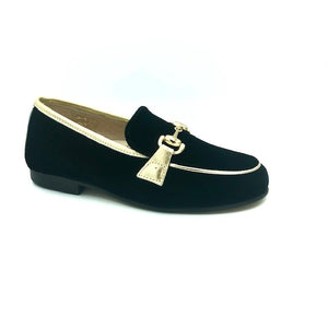 Hoo Black Gold Velvet Chain Loafer 3076