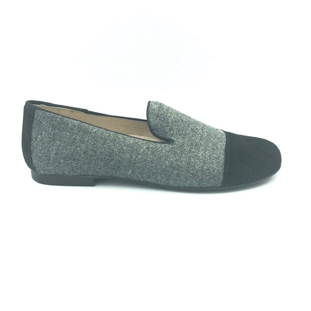 Hoo Grey Flannel Black Suede Dress Shoe 3062