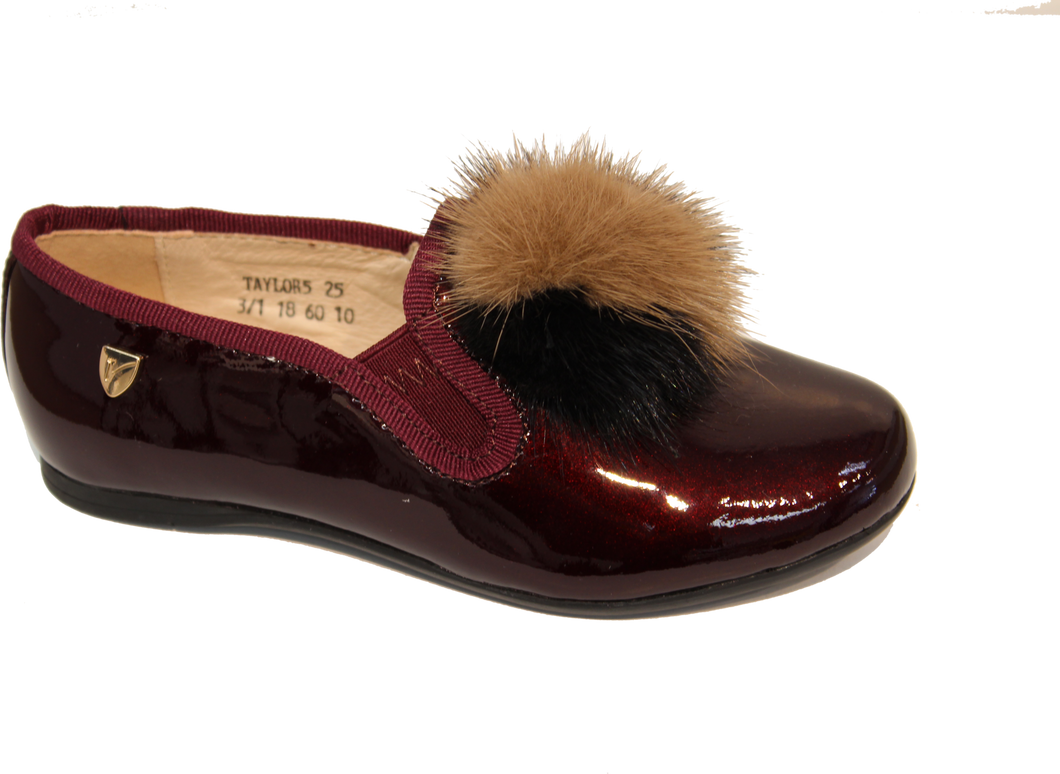 Venettini Taylor5 Burgundy Pom Pom Smoking Slip On