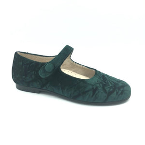 Hoo Green Crushed Velvet Mary Jane 3058