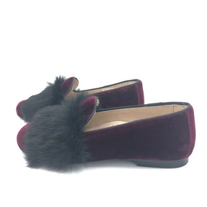 Hoo Burgundy Velvet Fur Slip On Dress Shoe 3062