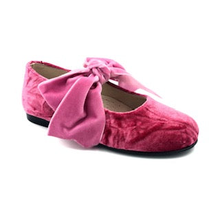 Hoo Pink Bow Crushed Velvet Velcro Mary Jane 3078