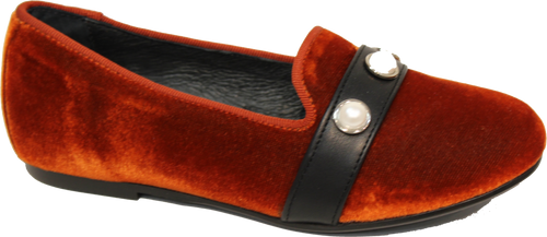 Blublonc Burnt Orange Velvet Pearl Slip on 9277