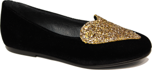 Blublonc Black Velvet Gold Heart Slip on 1281