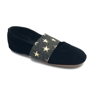 Pepe' Black Velvet Star Elastic Slipper 288