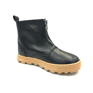 Pepe' Black Leather Front Zipper Boot 773