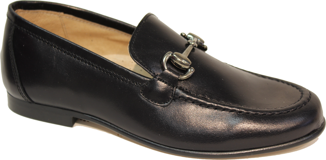 Hoo Black Leather  Chain Loafer