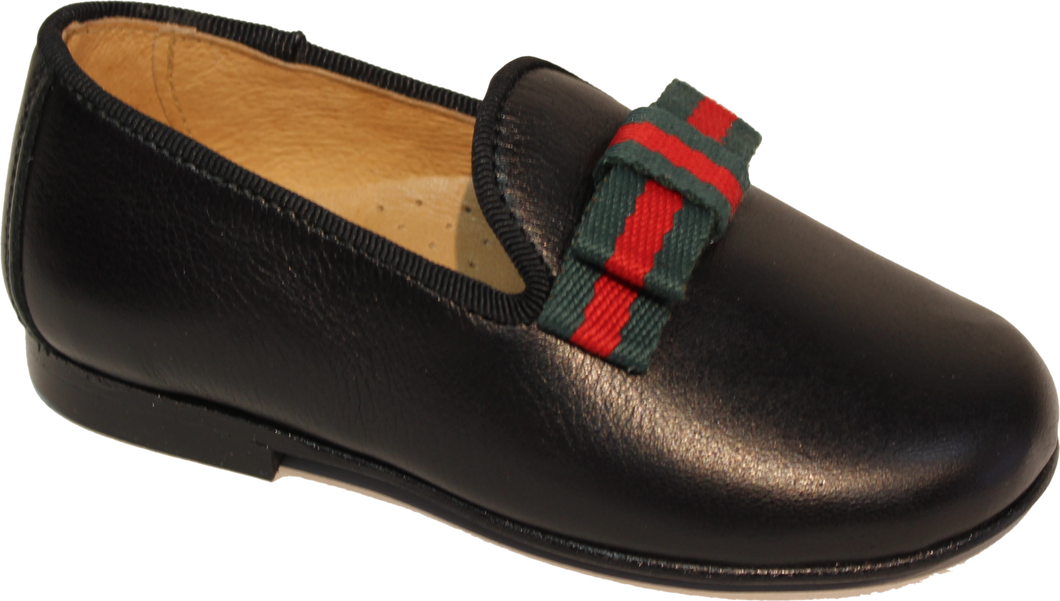 Hoo Charlies Ribbon Black Leather Slip On