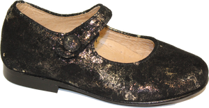 Hoo Metallic Gold Black Suede Mary Jane 2280