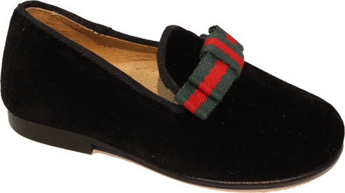 Hoo Charlies Ribbon Black Velvet Loafer 2277