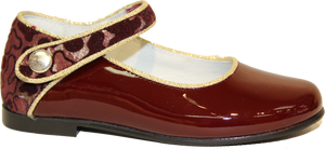 Geppetos Burgundy Gold Mary Jane