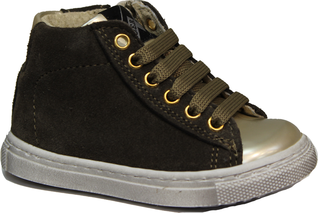 Shoe B 76 Olive High Top Side Zip Sneaker