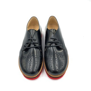 TNY Black Leather Red Sole Laced Oxford 14941