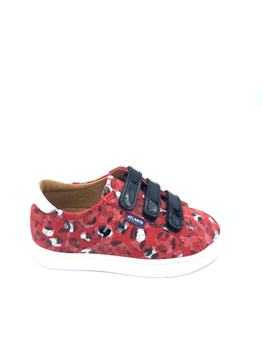 Atlanta Mocassin Red Black Velcro Sneakers 13920